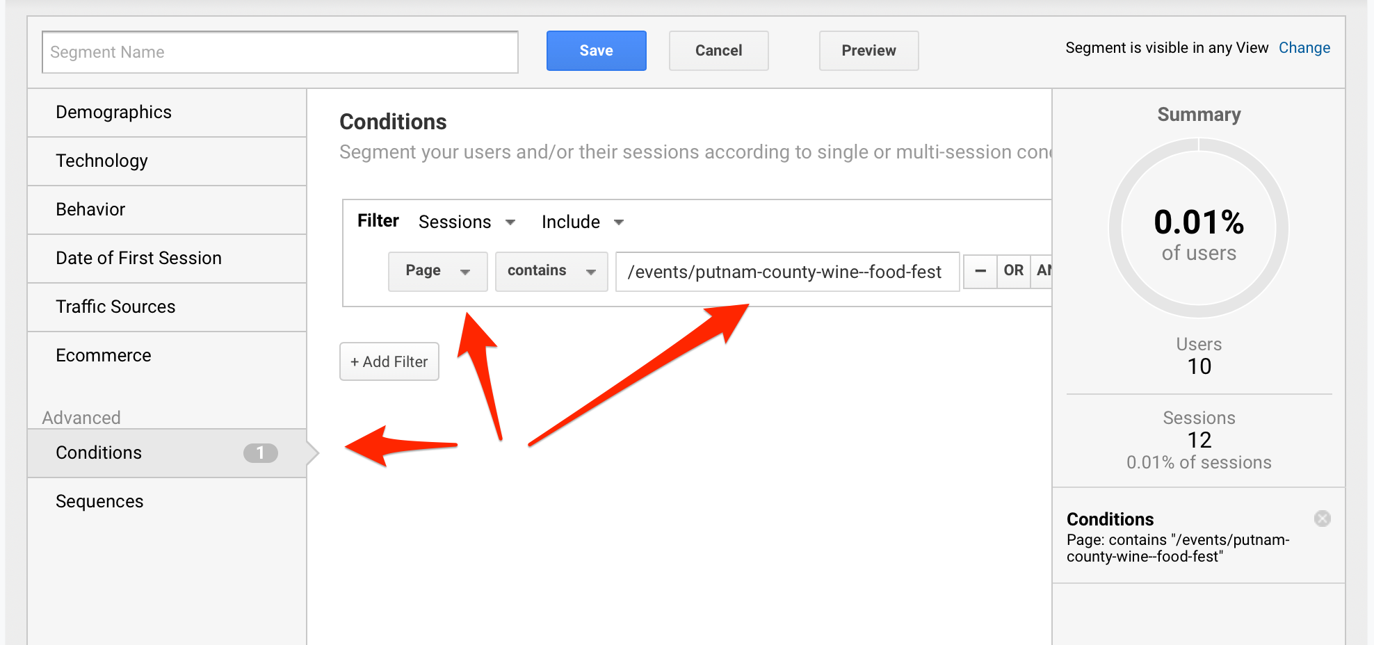 Advanced Condition Google Analytics