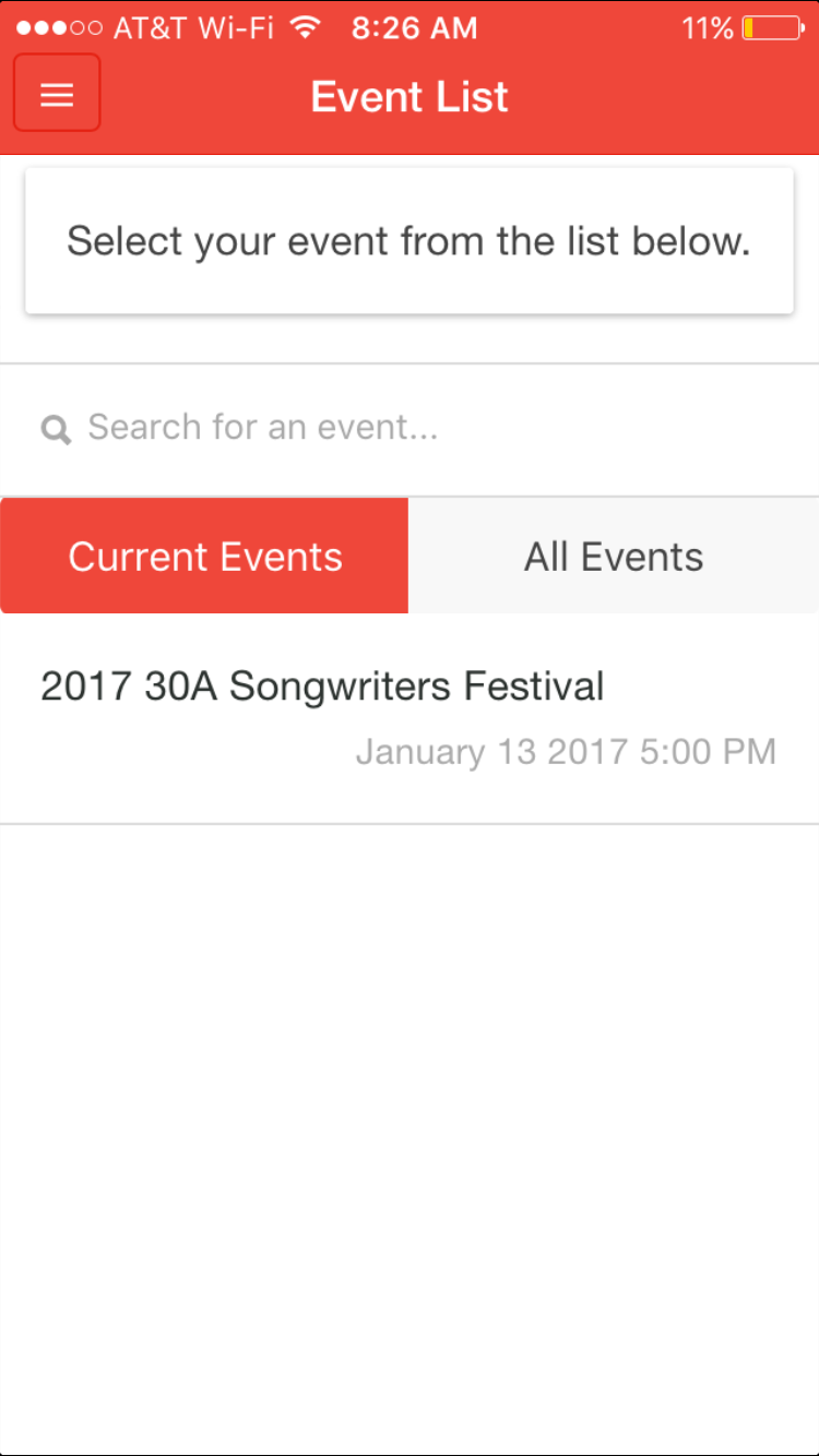 Select Your Event